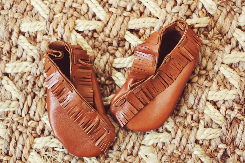 Baby moccasins with fringe