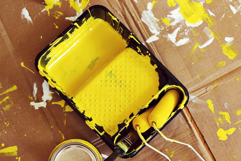 Bright yellow paint