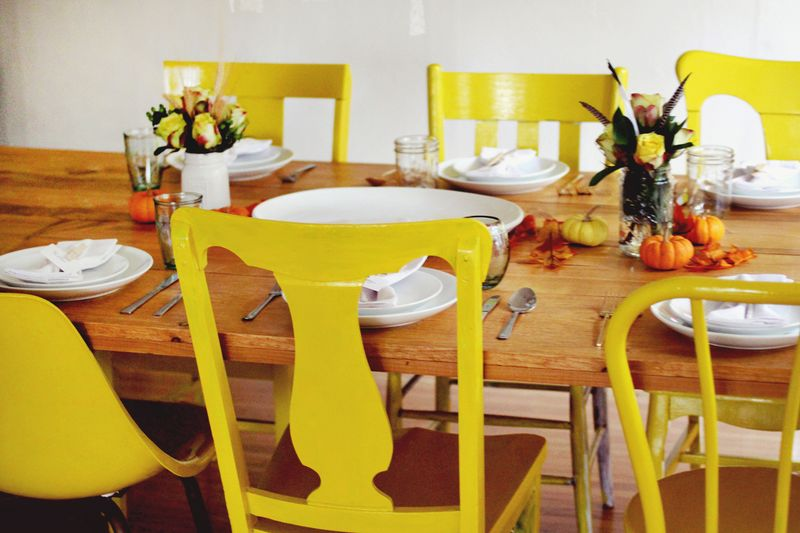 Elsie's newly painted yellow chairs + DIY table