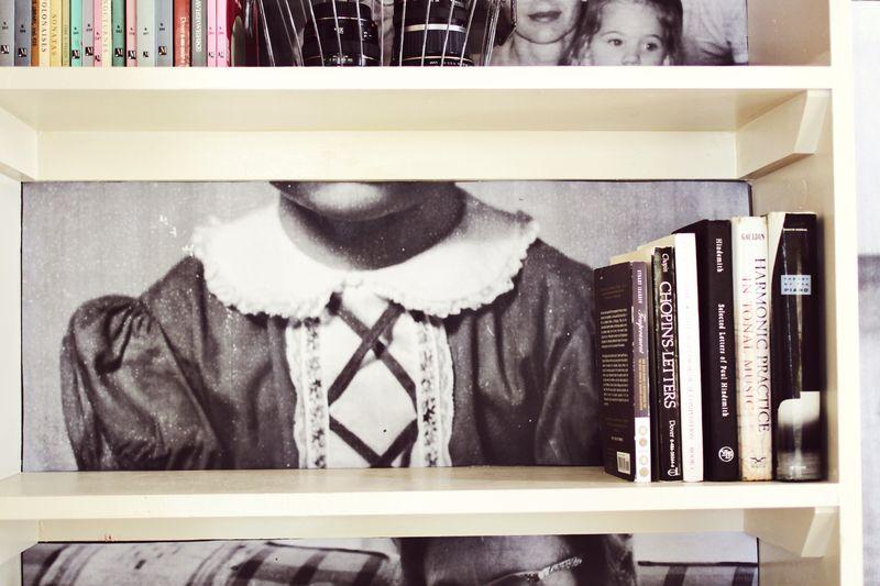 Family photo bookshelves