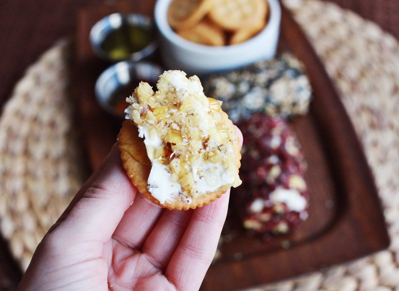 Honey nut goat cheese appetizer
