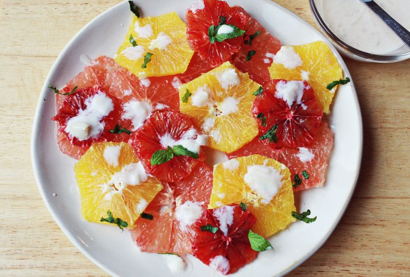 Citrus salad with yogurt dressing