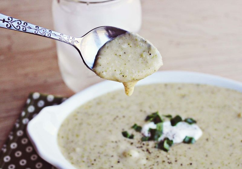 Potato and broccoli cheddar soup