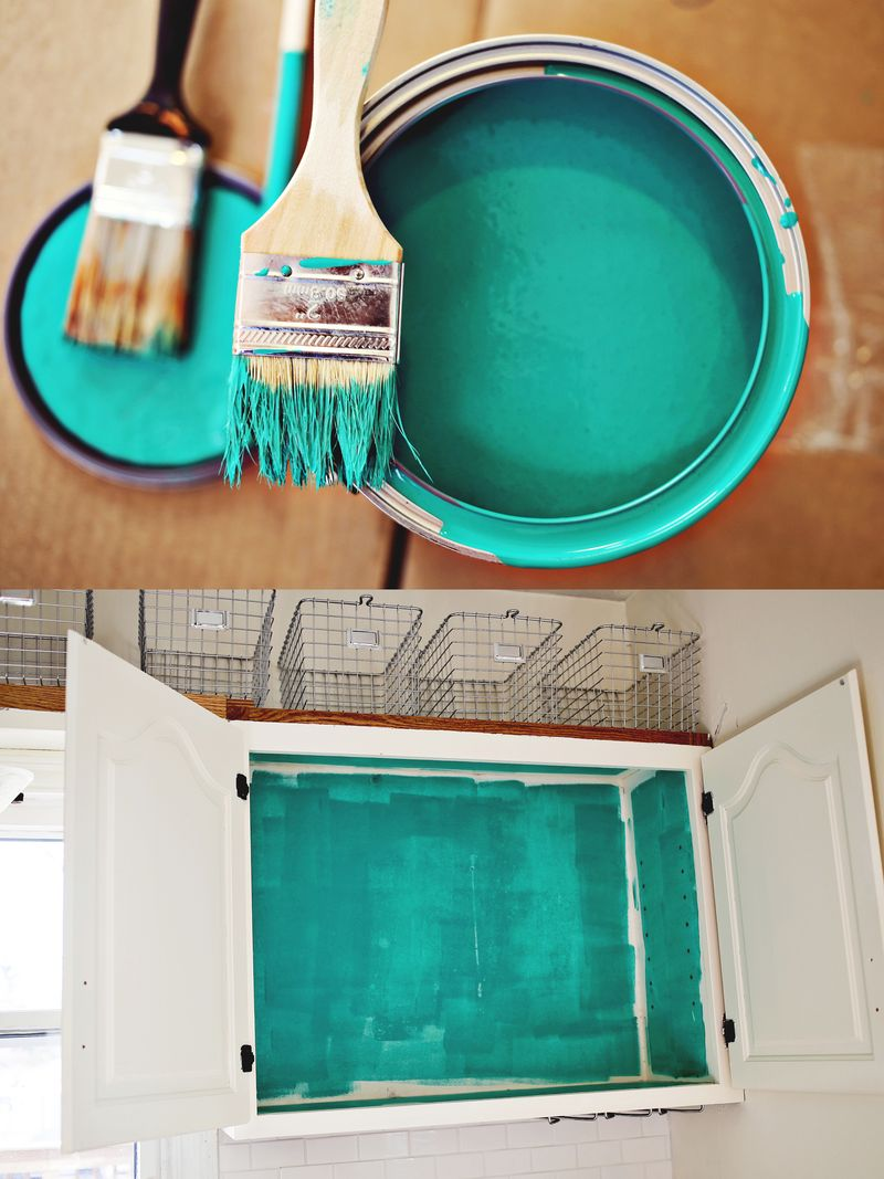 Color Inside The Kitchen Cabinets Sea Swell By Valspar