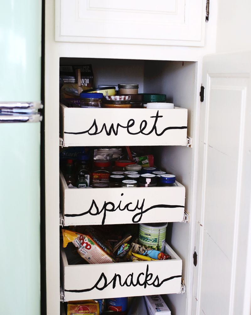 Labeled kitchen drawers… sweet, spicy, snacks!