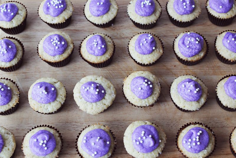 Vanilla cupcakes with lavender frosting