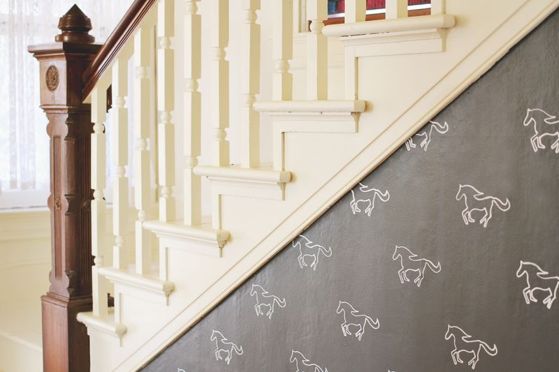Our bright white stairway a beautiful mess - How to paint a stairway wall ...