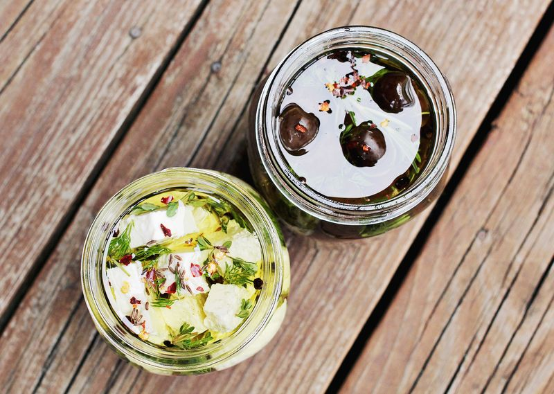 Making marinated olives and feta
