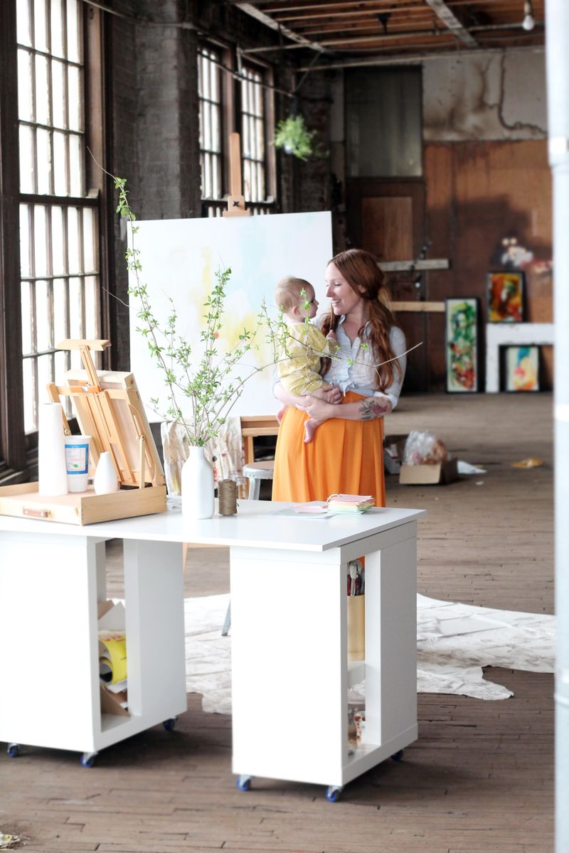 The beautiful Katie Stratton in her amazing work space