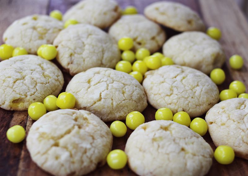 Make these cookies with lemonhead candies