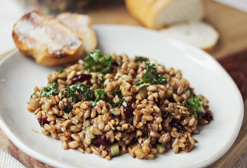 Farro and kale salad