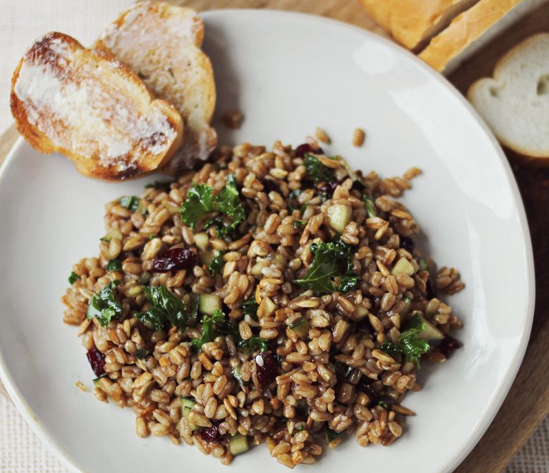 Farro cranberry and kale salad