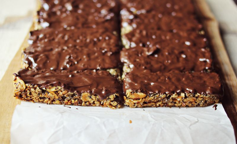 Granola bars with chocolate bottoms