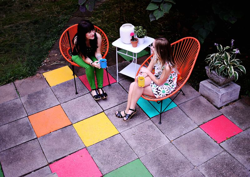 Elsies Painted Patio Tiles A Beautiful Mess - Cement tiles for backyard