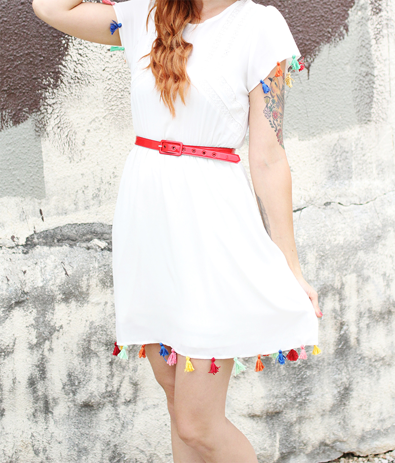 Adorable tassel dress DIY via A Beautiful Mess