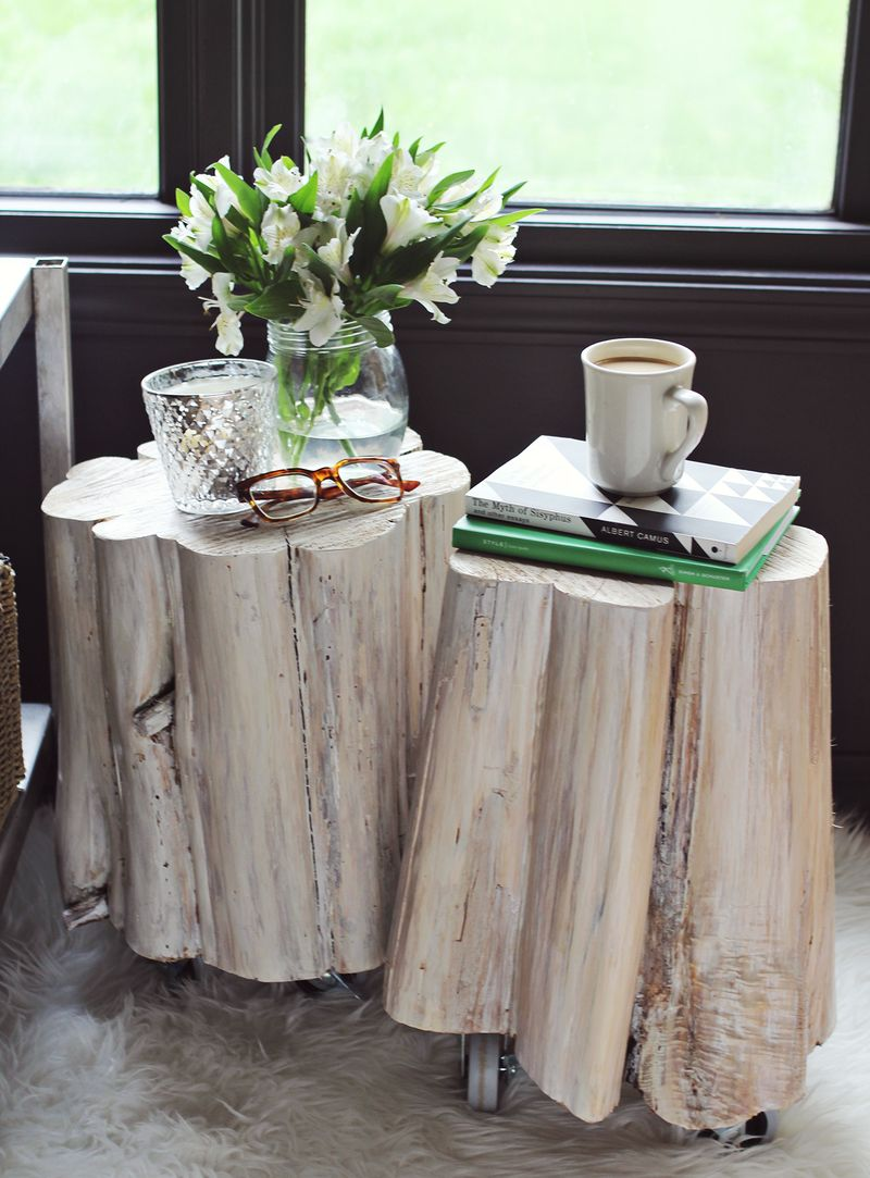 DIY tree stump side tables
