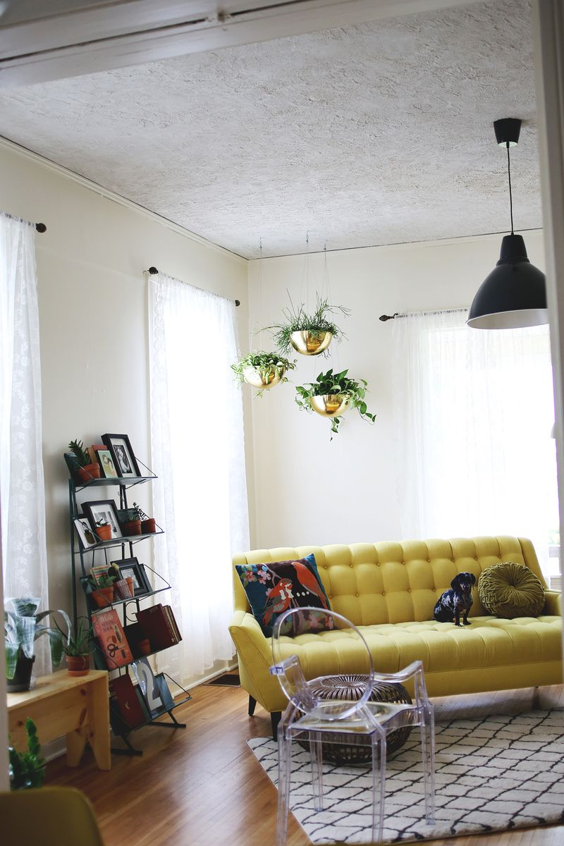 Hanging vintage brass planters a beautiful mess Where to hang pictures in living room