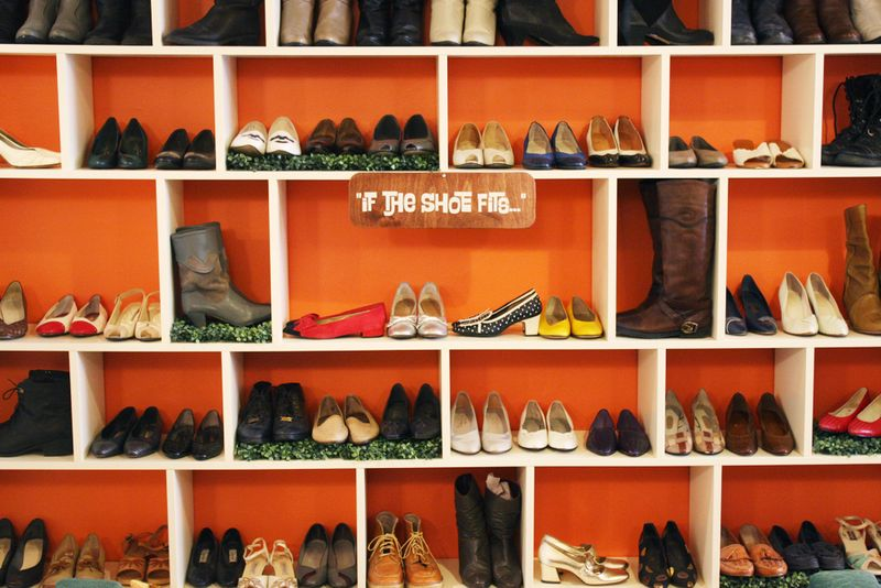 shoe wall at work with rhymes with orange a beautiful mess