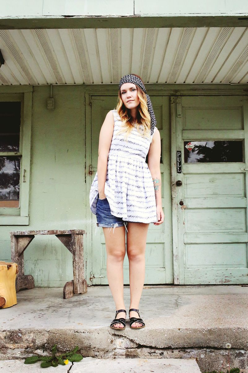 Emma from A Beautiful Mess wearing Abby Galloway Soundwaves tea dress