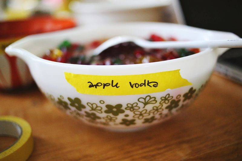 Apple vodka soaked gummy bears