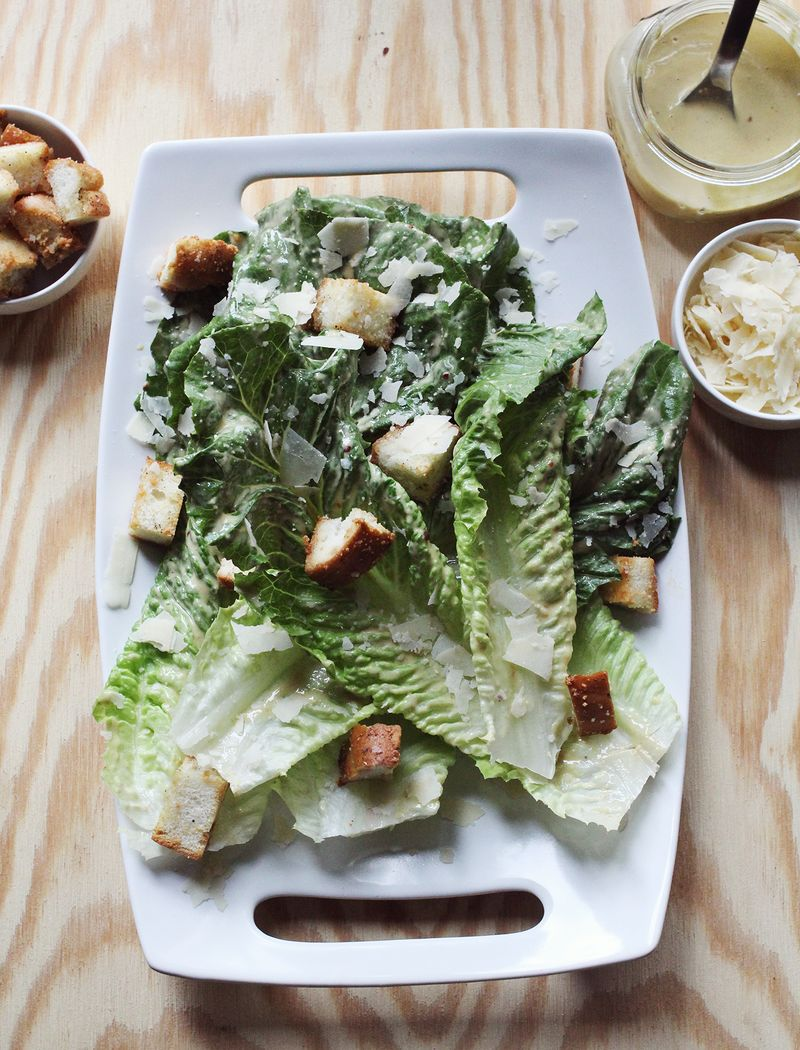 Caesar Dressing + Anchovy Croutons