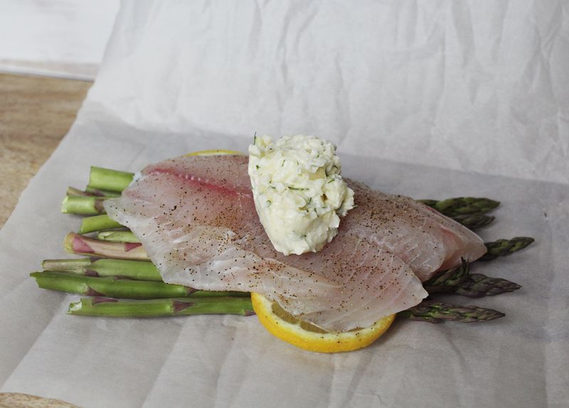 Garlic asparagus steamed fish a beautiful mess for Steam fish in oven