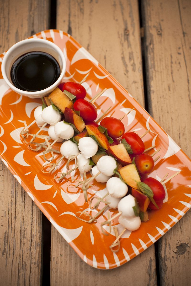 Peach Caprese Skewers with Balsamic Vinegar Reduction www.abeautifulmess.com