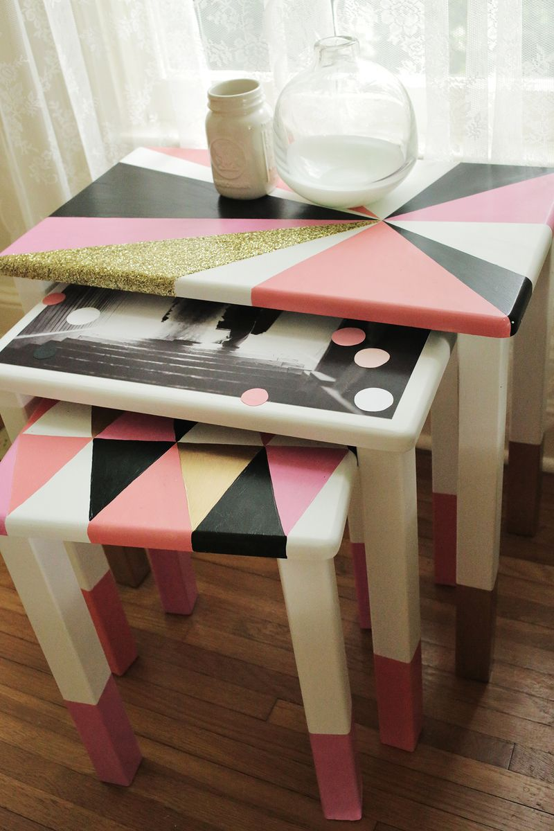 DIY Geometric Nesting Tables via abeautifulmess.com 8