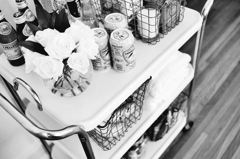 Create a fun cart for overnight guests with snacks and extra toiletries! via abeautifulmess.com