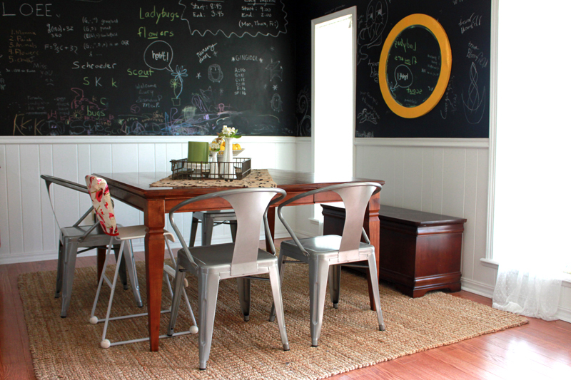 Love The Chairs And Chalkboard Wall In This Dining Room