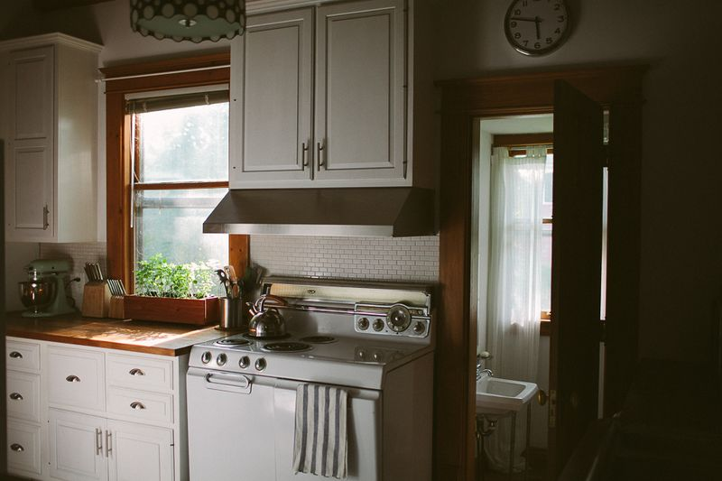 Beautiful kitchen with window herbs