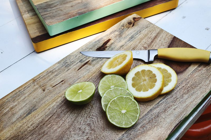 Paint the edge of your cutting boards with non-toxic paint for a cute color pop!