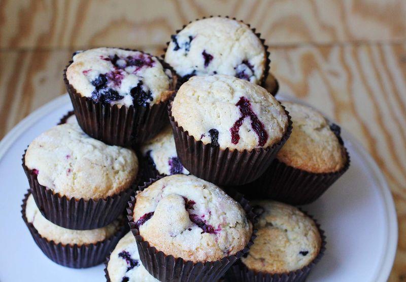 Triple berry muffins abeautifulmess.com