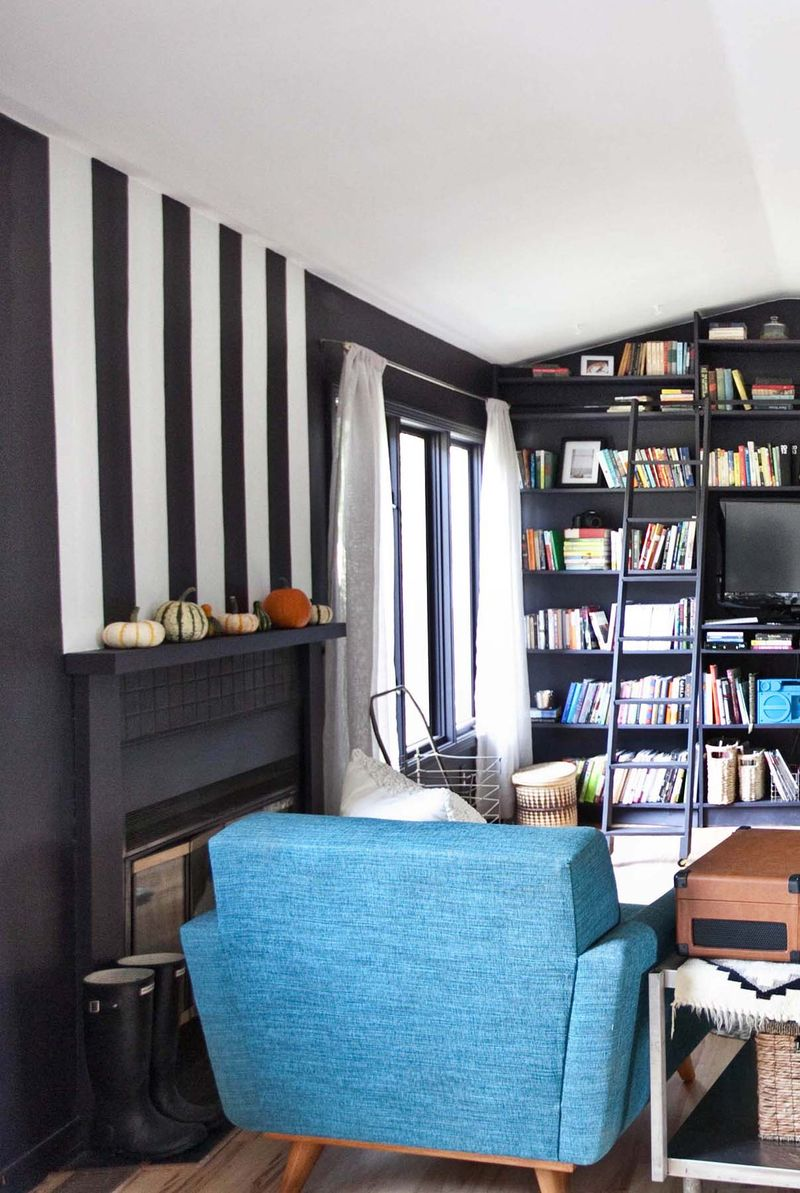 Paint stripes above your fireplace