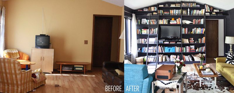 Emma's living room before and after