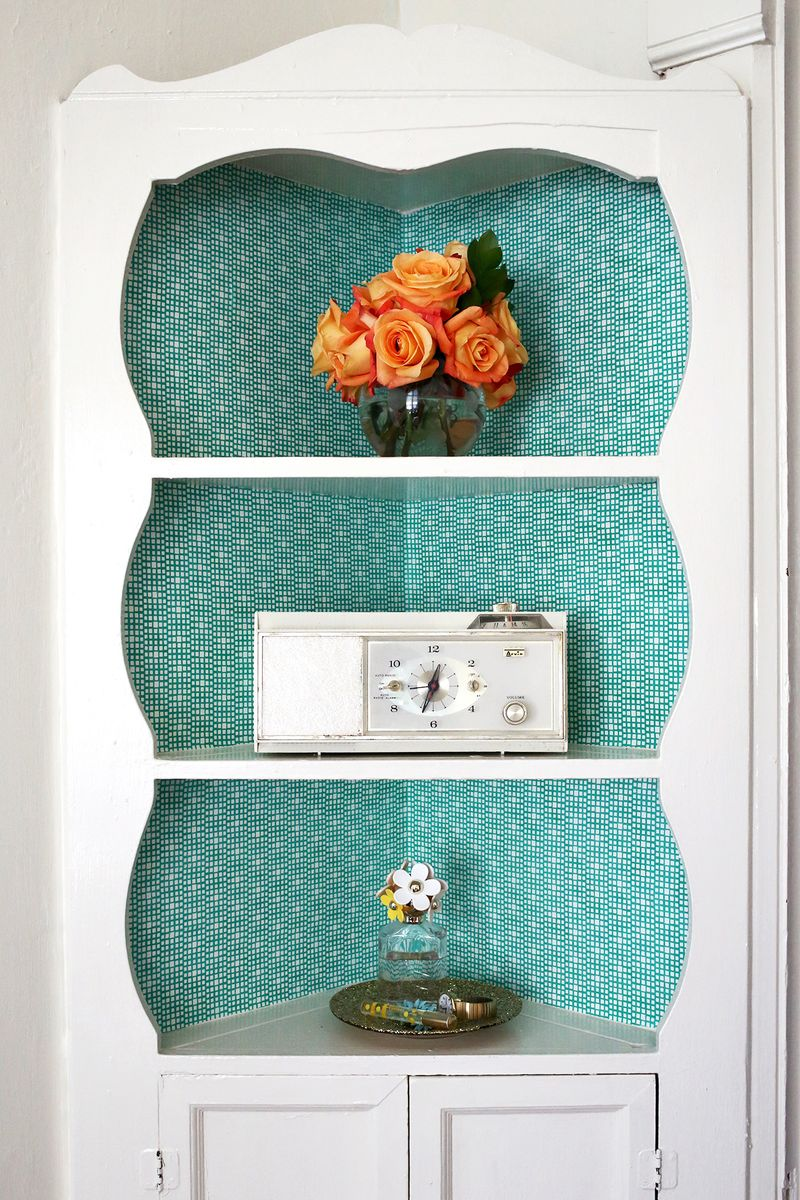 Try This: Fabric Lined Built-In Shelves