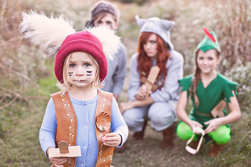 Adorable Peter Pan and the Lost Boys family costume