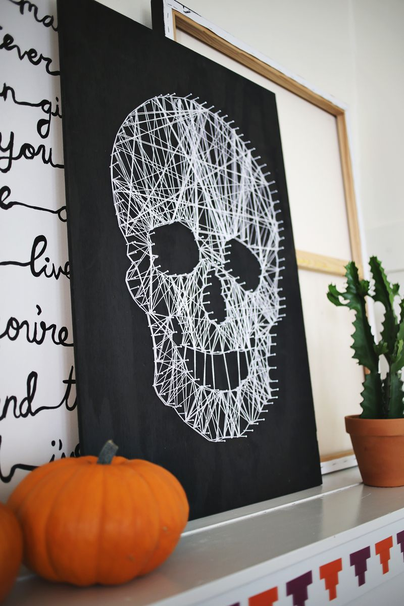 make your own skull string art a beautiful mess. Black Bedroom Furniture Sets. Home Design Ideas