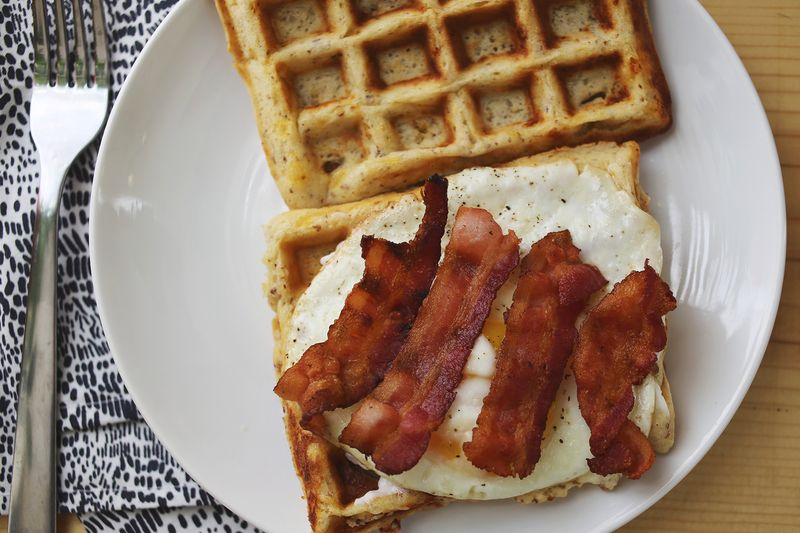 Cheddar Waffle Breakfast Sandwich (click through for the recipe!)