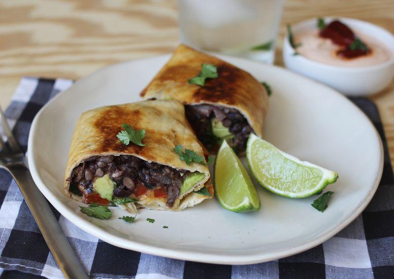 Black bean fried burritos