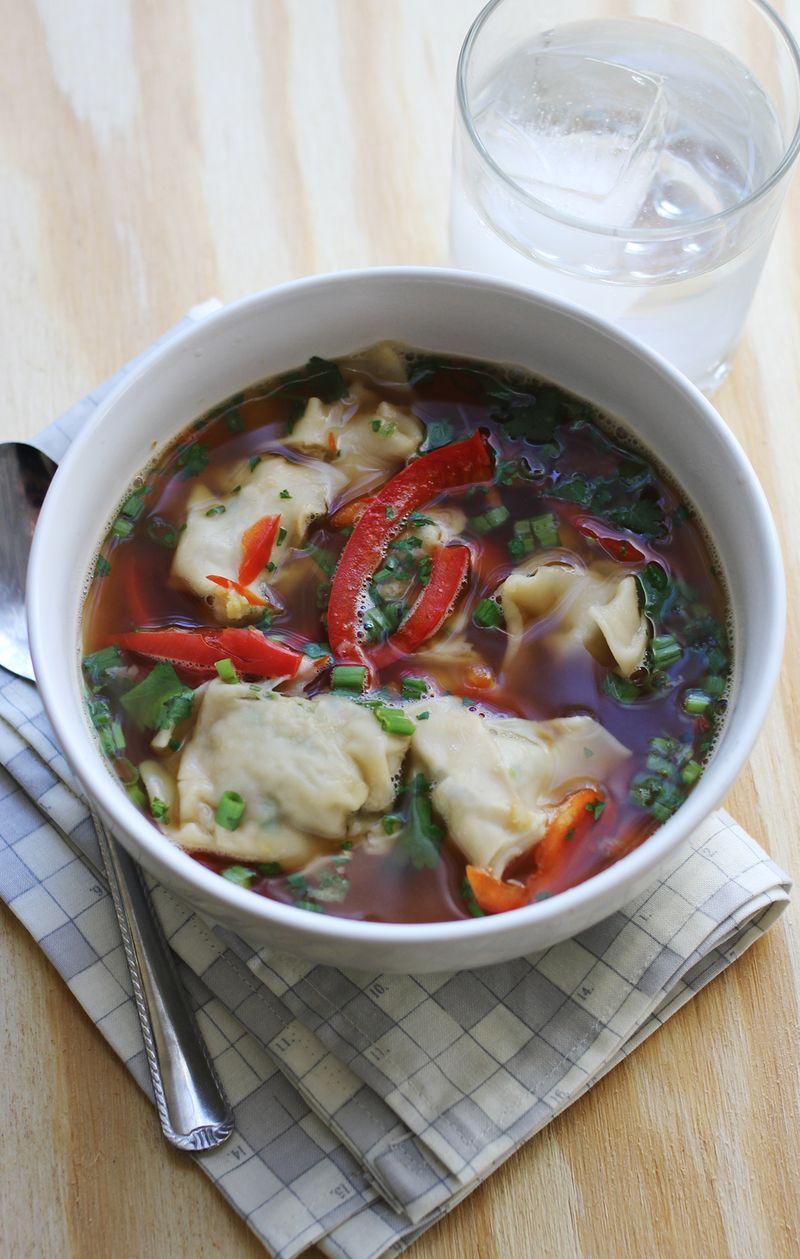 Hot and sour dumpling soup