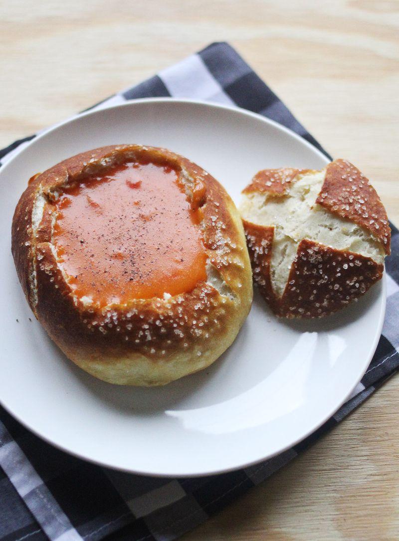Pretzel Bread Bowls abeautifulmess.com