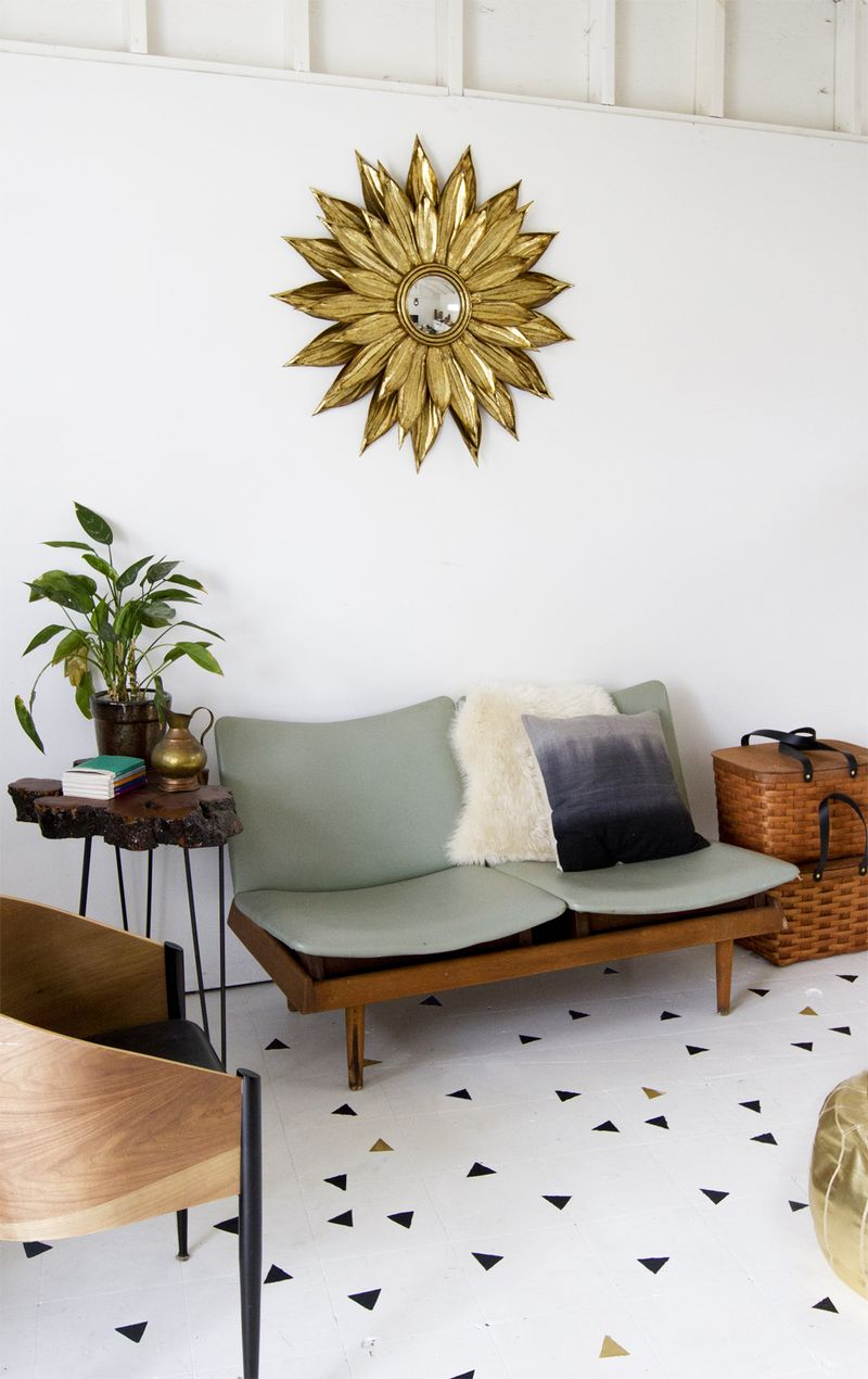 geometric stenciled floor a beautiful mess. Black Bedroom Furniture Sets. Home Design Ideas