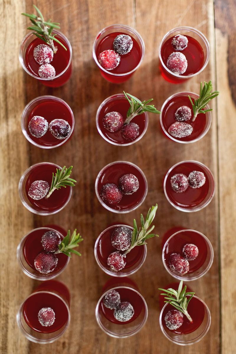Cranberry Jello Shots abeautifulmess.com