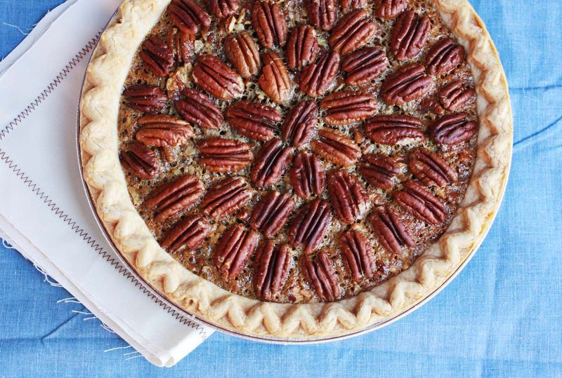 Brownie Pecan Pie abeautifulmess.com