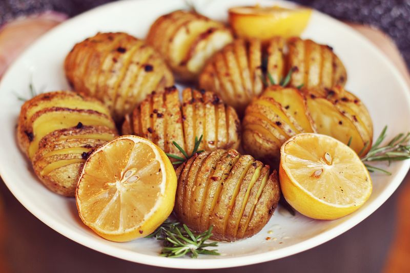 Accordion Potatoes with Rosemary and Garlic abeautifulmess.com
