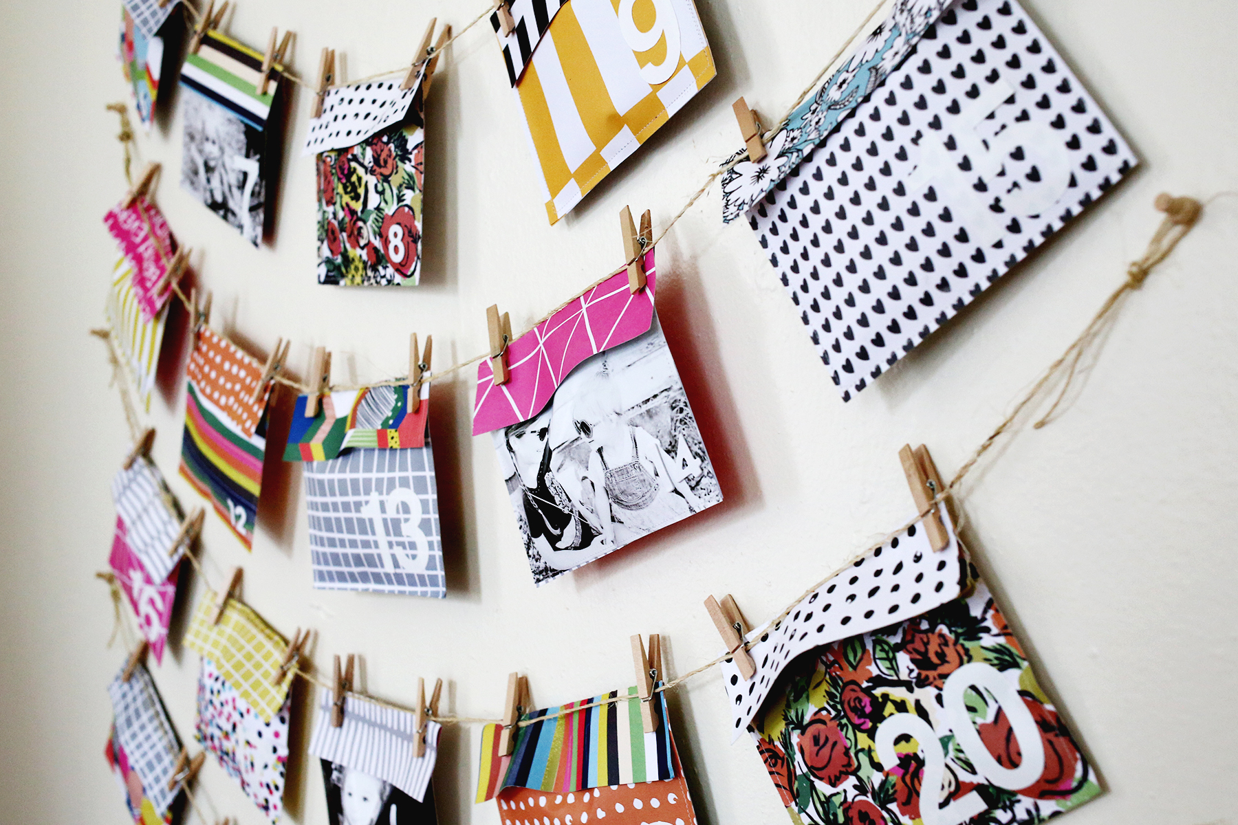 How to design scrapbook using colored paper - Colorful Advent Made With Scrapbooking Paper