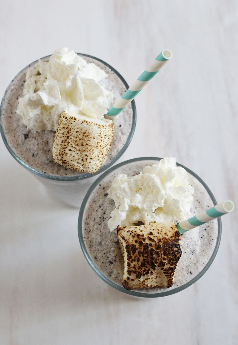 Cookies and cream frozen hot chocolate!
