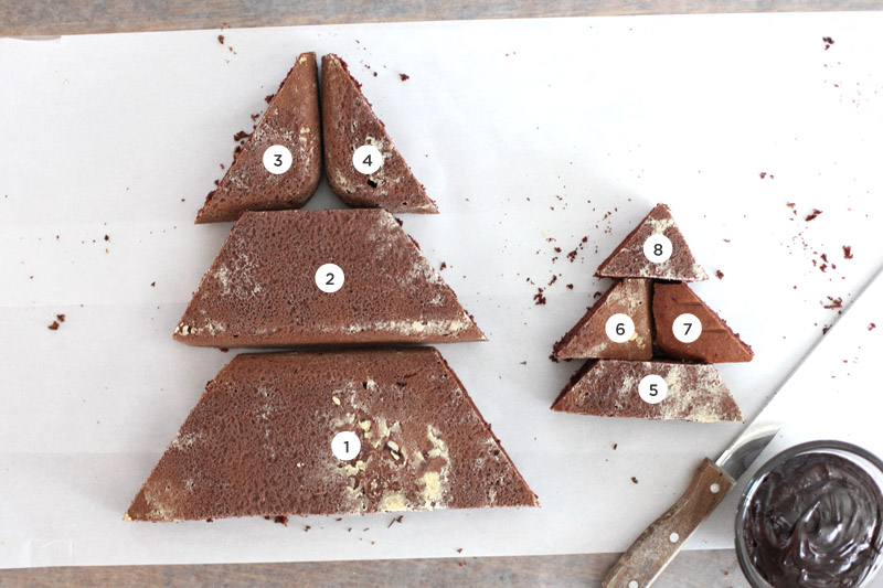 Make this elegant Christmas tree cake from a 9x13 cake and a printable template.