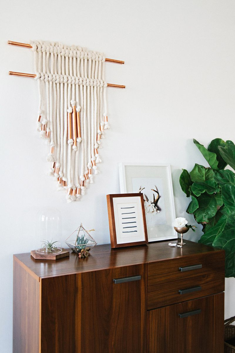 Copper pipe wall hanging diy a beautiful mess for Hanging wall decor